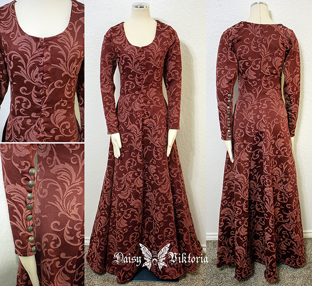 14th century Red Brocade Medieval Kirtle or Gothic Fitted